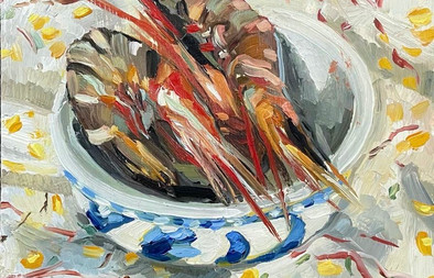 """Tiger Prawns in a chinese bowl 8X7"""""""