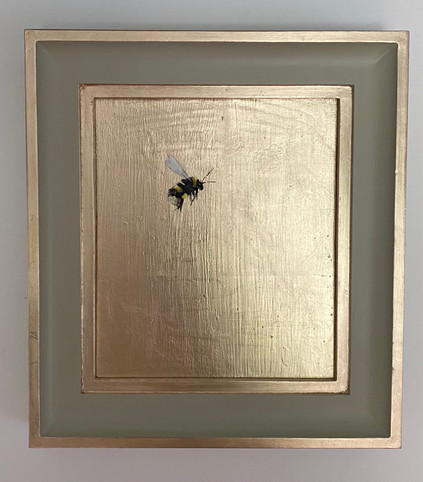 """SOLD French Grey bumble, oil on 22 carat moon gold leaf, 10x11"""" framed size"""