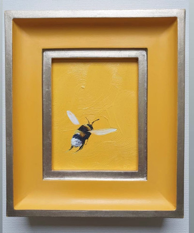 "SOLD Crocus Yellow Bumble, Oil on board, 7x8"" framed"