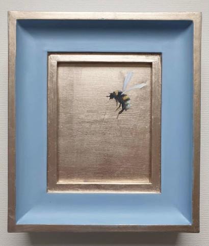 """SOLD Lulworth Blue Gold Bumble, Oil on genuine gold leaf, 7x8"""" framed"""