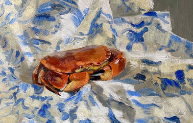 """Crab on Blue and White, 14x16"""""""