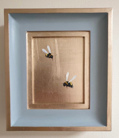 """SOLD Bone China double bumble, Oil on 22 carat moon gold leaf, 7x8"""" framed"""