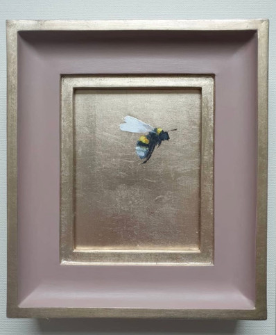 """SOLD Cinder Rose Gold Bumble, Oil on genuine golf leaf, 7x8"""" framed"""