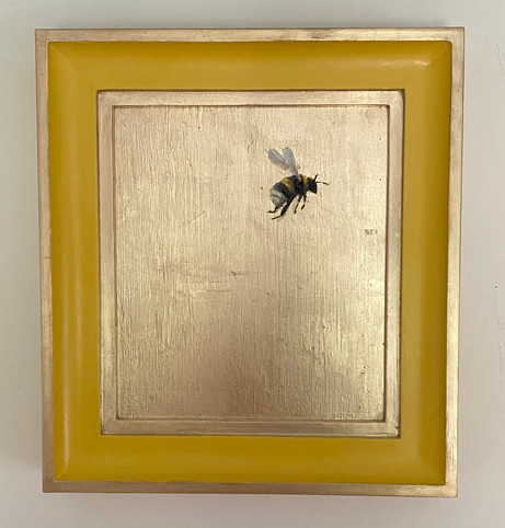 """RESERVEDBabouche Yellow bumble, Oil on 22 carat moon gold leaf, 10x11"""" framed"""
