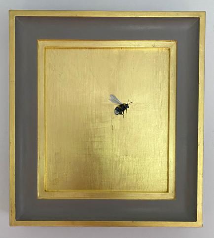 "SOLD Worsted grey bumble, Oil on 22 carat gold leaf, 10x11"" framed"