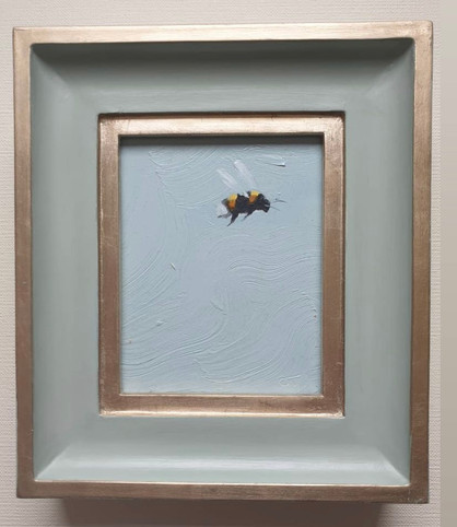 "SOLD Light Blue Sky Bumble, Oil on board, 7x8"" framed"