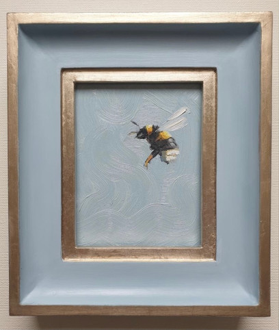 "SOLD Parma Grey Bumble, Oil on board, 7x8"" framed"