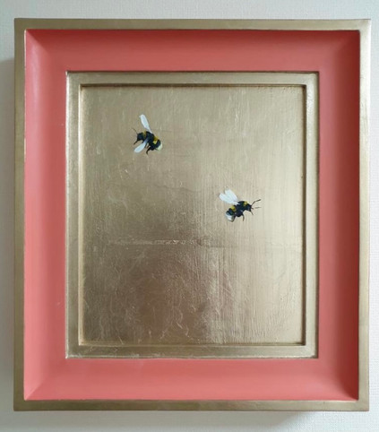 "RESERVED Orange Aurora, double bumble, Oil on 22 carat moon gold leaf, 10x11"" framed"