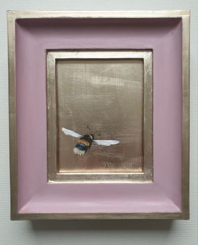 """SOLD Cinder Rose Gold Bumble (flying right), Oil on genuine golf leaf, 7x8"""" framed"""