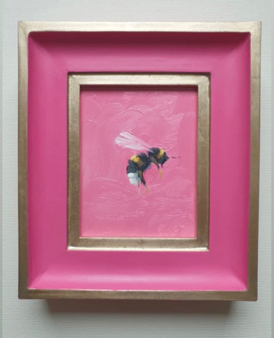 "SOLD Tulip Pink Bumble, oil on board, 7x8"" framed"