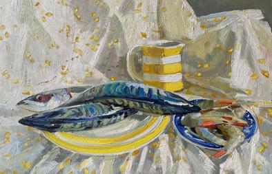 """Mackerel and prawns with yellow cornishware 14x16"""""""