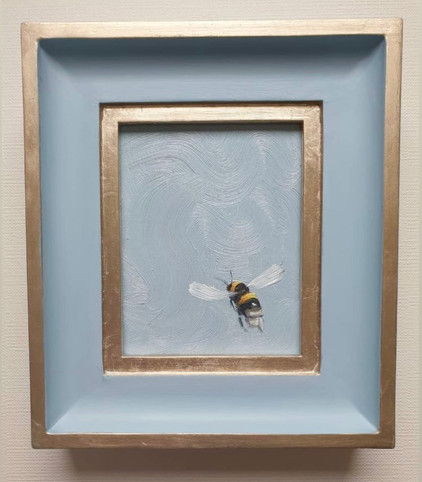 "SOLD Parma Grey Sky Bumble, Oil on board, 7x8"" framed"