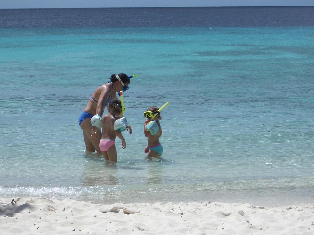 Curacao children snorkelling