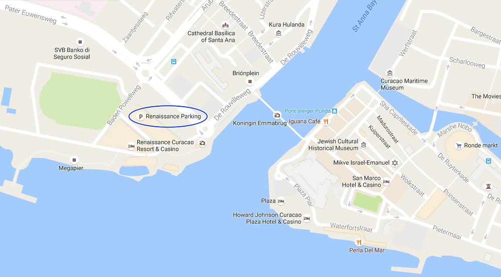 Car rental Curacao, Renaissance free parking