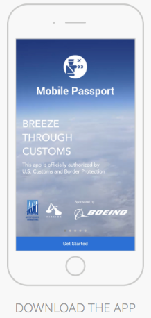Mobile Passport, U.S. Customs at airport from Curacao