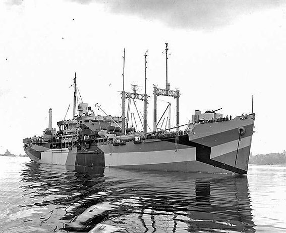 ship USS St George in dazzle camouflage
