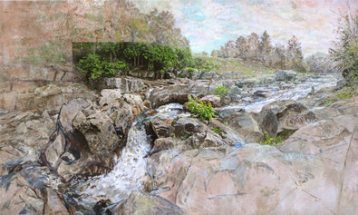 Anne Diggory stream corner 35x60 mixed media 2020.jpg