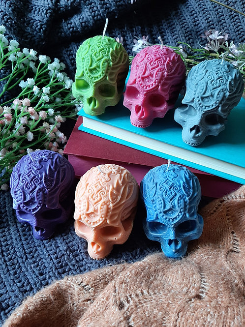 Rainbow Skull Pillar Candle