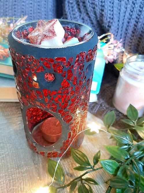Red Crackle Glass Pillar Wax Burner