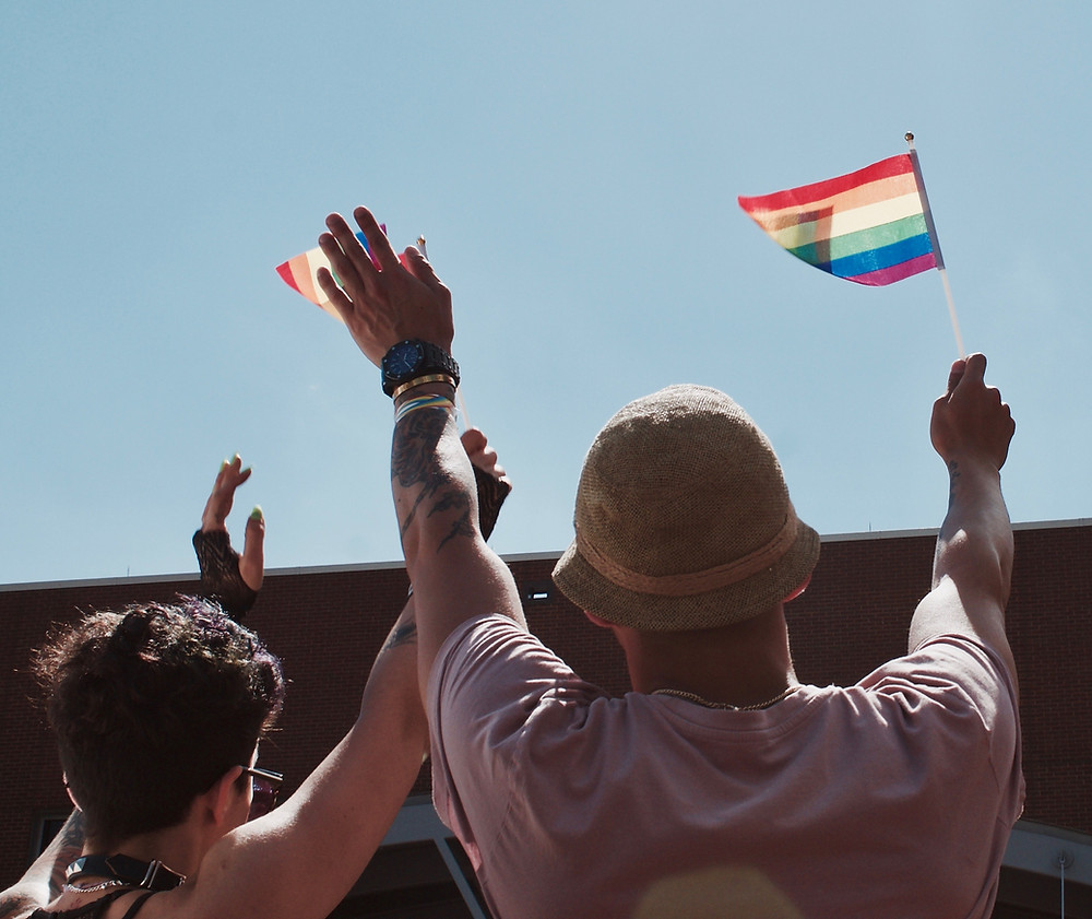 Pride flags waving in the air