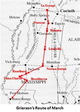 Colonel Grierson's Union Cavalry Brigade raid on Confederate Mississippi, Spring 1863.