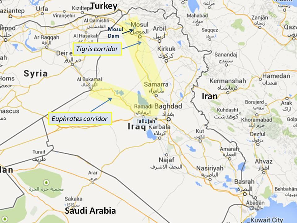 The Euphrates corridor, Raqqa left centre