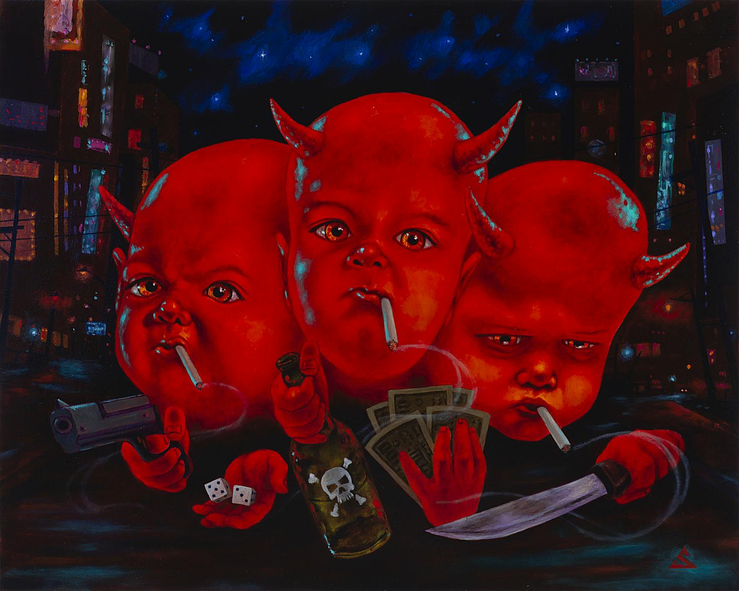 Satan for President #2- oil on mason