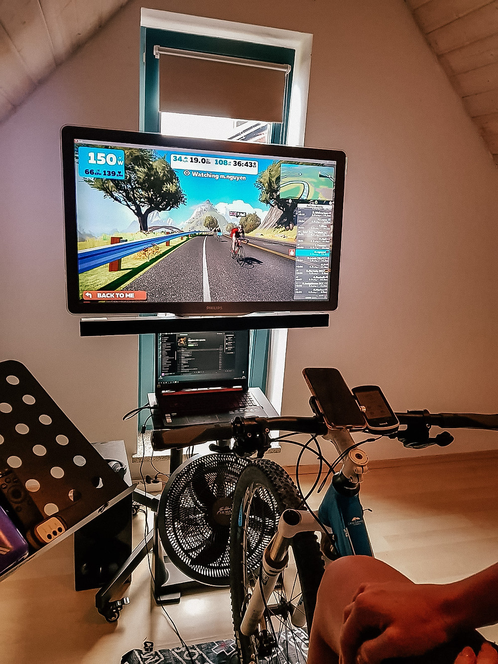 Zwift kokpit virtual ride