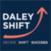 Daley Shift_Logo_Blue Background_White T