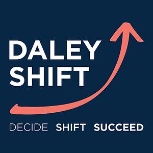 Daley Shift_Logo_Blue Background_White T