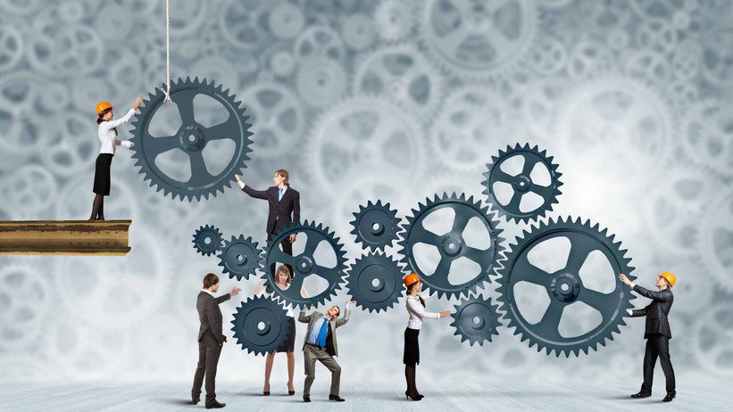 Conceptual image of businessteam working