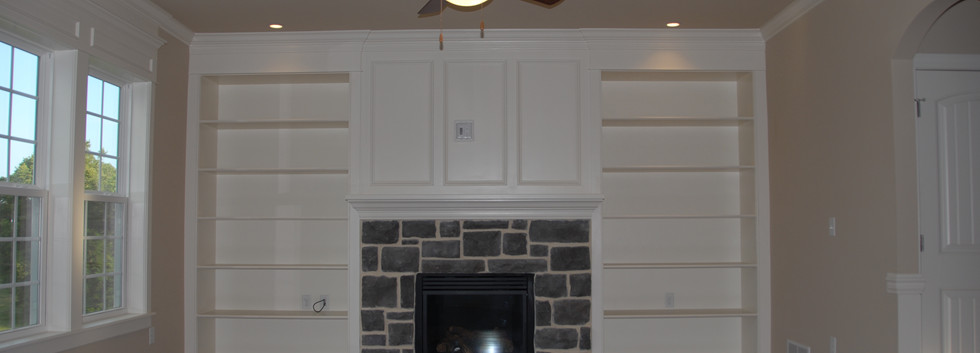 Fireplace with Build-In Shelving