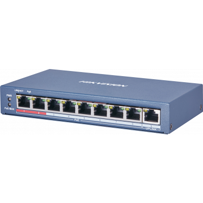Hikvision 8-ports 100Mbps unmanaged PoE switch