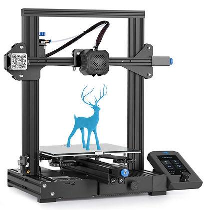 impresora 3d ender 3 v2 con impresión azul dentro