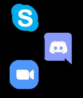logos de skype, discord y zoom
