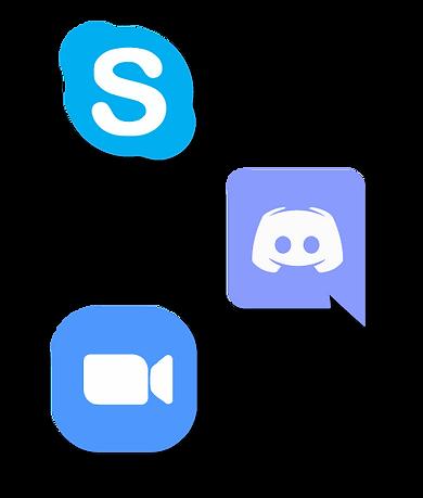 Iconos de skype, discord y zoom