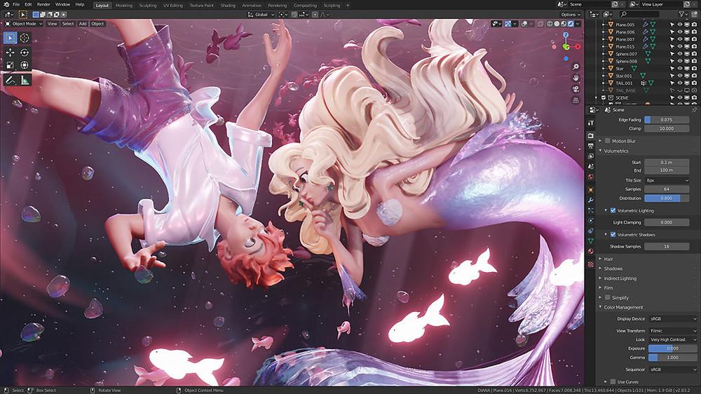 Sirena y chico bajo el agua, diseño 3d de Pablo Dobarro