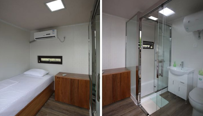 Cama, baño, ducha de sala de aislamiento winsun