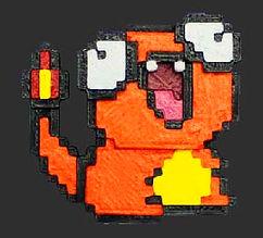 Charmander estilo 8 bits de plástico