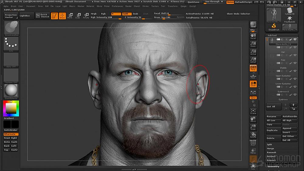 Steve Austin WWE diseño en Zbrush