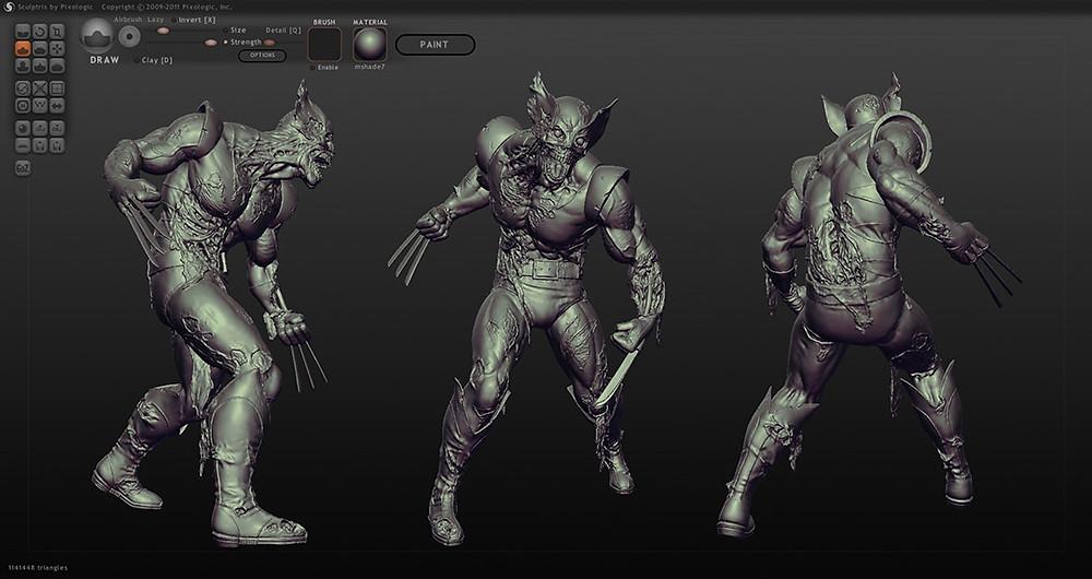 Wolverine Zombie diseñado en Sculptris