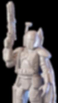 Bobba Fett de Star Wars, color gris, impreso en 3d