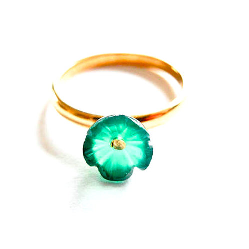 "Ring "" Fleur ""Onyx grün"