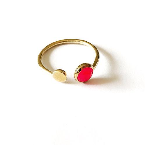 """Ring """" double Point"""" pink Achat gefärbt"""