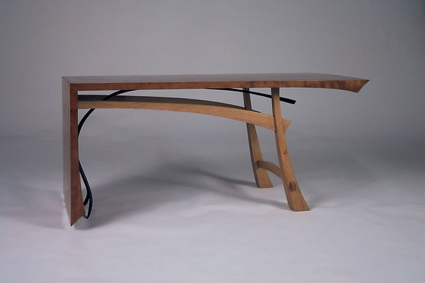 Japan Coffee Table:  I was investigating Japanese design and thinking about drop leaf tables when I made this.   American cherry and oak,