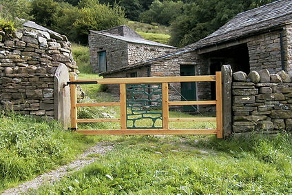 ...and the entrance gate where I copied the rock pattern in the stone wall for the centre panel.