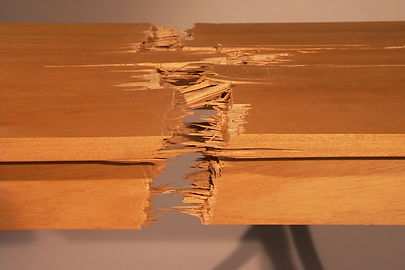 Shaker Disturbed:  I was experimenting with steam bending wood - too often unsuccessfully.  After so many failures, I decided to celebrate broken wood.