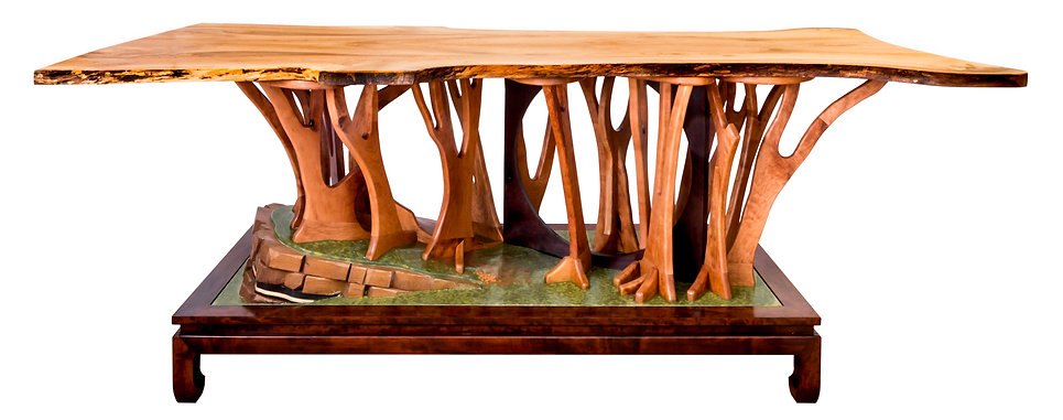 A standing conference table, 42 inches high and 9 feet long. Commissioned by an astrophysicist, and developed out of long discussions and research. Within this bonsai are references to the history of the earth, life, evolution, and man's attempt to measure them.