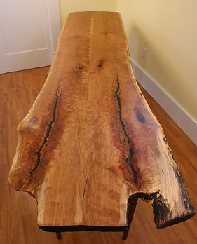 Margo Table:  A cherry tree felled to make room for new dining room addition becomes an 8 foot side table for said dining room.