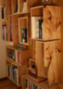 Jeff & Rena Basch asked me to design a bookcase built from the wood of an ash tree that had come down in their property.  After I introduced the initial concept, Jeff & Rena devised the size, shape and arrangement of the boxes -- each of which hold a special significance to the family.